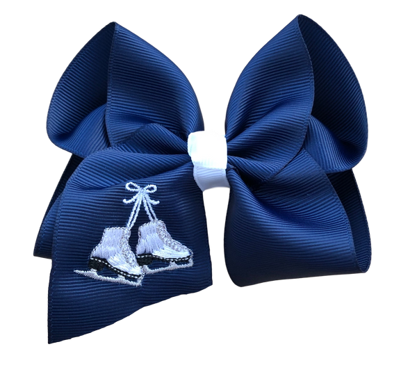 Ice Skate Embroidered Bow