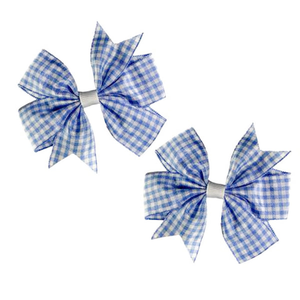 Blue Gingham Bow Set