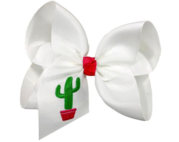 Santa Fe Cactus Embroidered Bow