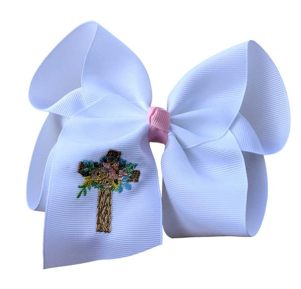 Spring Cross Embroidered Bow