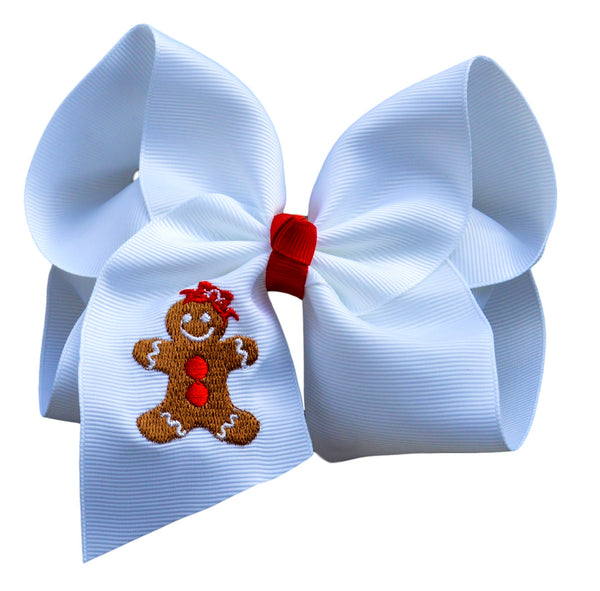 Gingerbread Girl Embroidered Bow