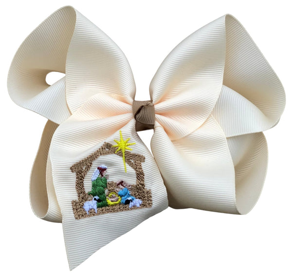 Rustic Nativity Embroidered Bow