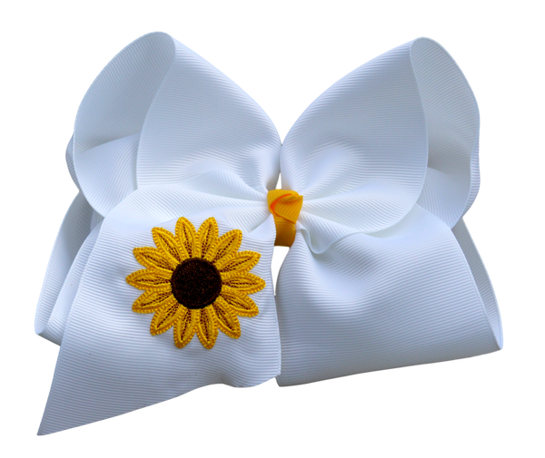 Sweet Sunflower Embroidered Bow