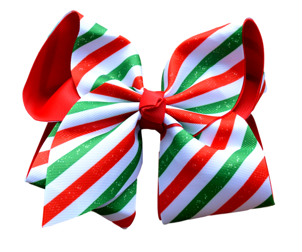 Christmas Stripe Layered Bow.