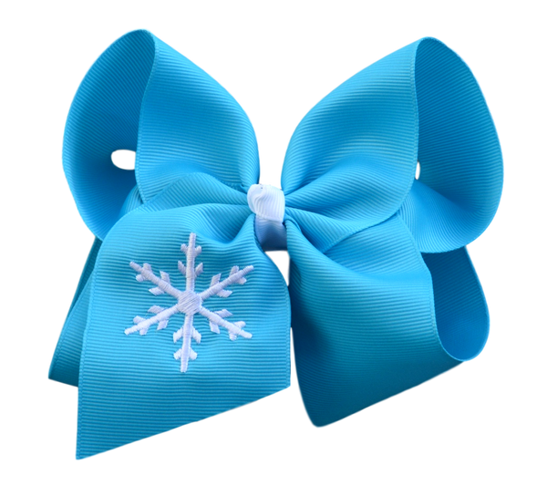 Sweet Snowflake Embroidered Bow