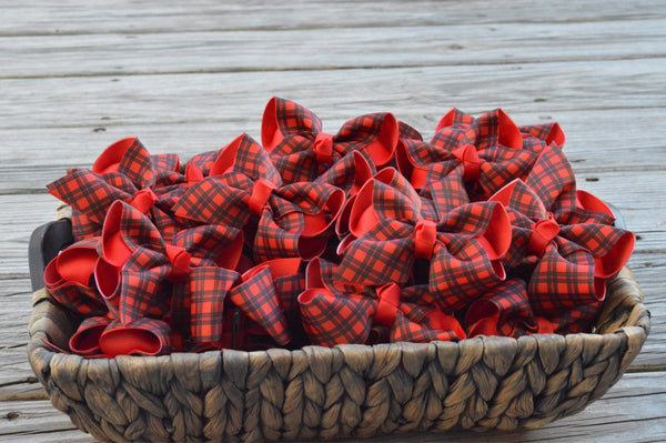 Red and Black Christmas Plaid Layered Bow