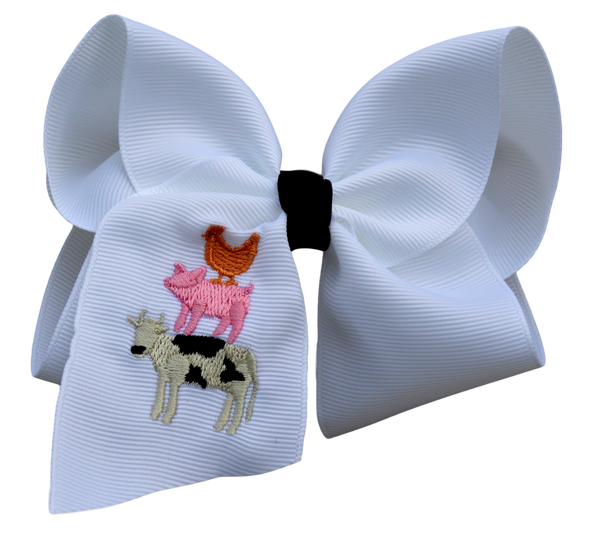 Farm Friends Embroidered Bow