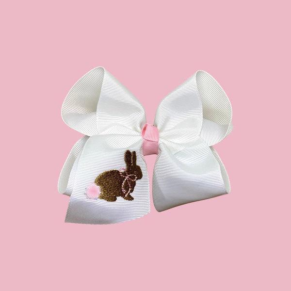 Heirloom Embroidered Bunny Bow