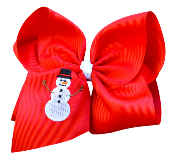 Snowman Embroidered Bow