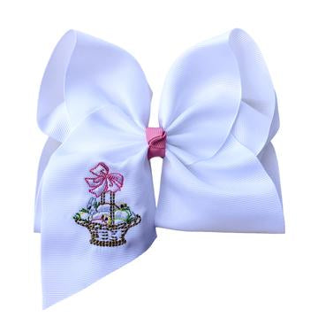 Easter Basket Embroidered Bow