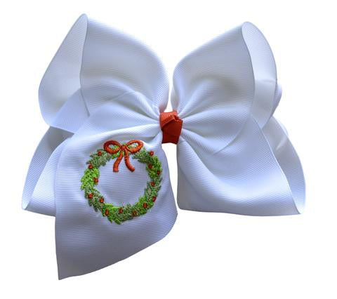 Christmas Wreath Embroidered Bow