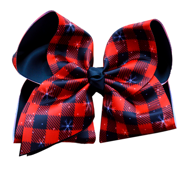 Red and Black Buffalo Plaid Layered Bow