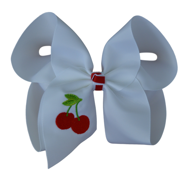 Cherry Embroidered Bow