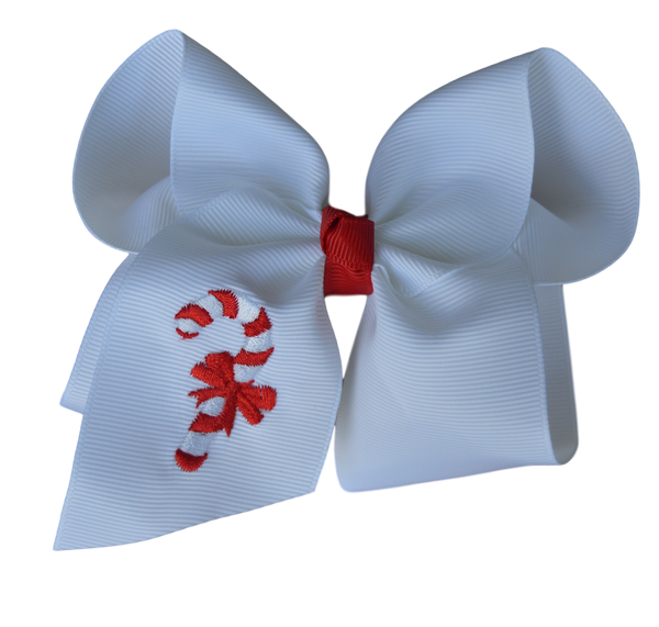 Candy Cane Embroidered Bow
