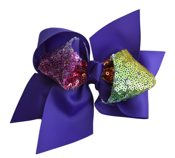 Purple Pinwheel Bow with Multi Color Sequence Center