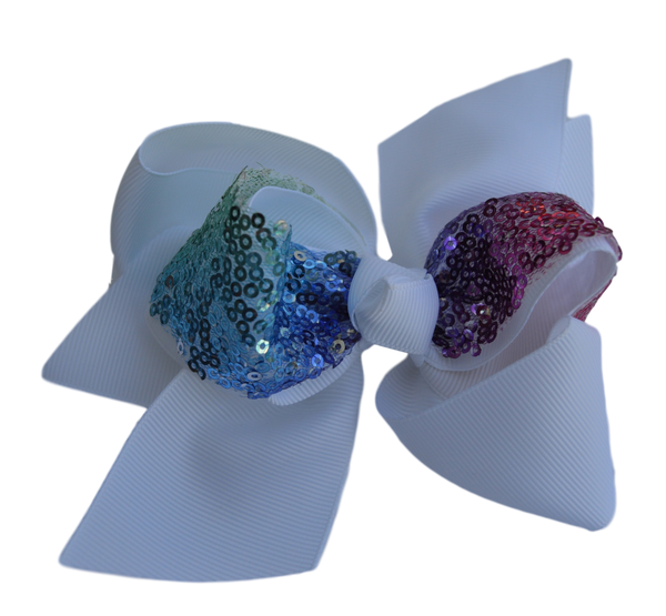 White Pinwheel Bow with Multi Color Sequence Center