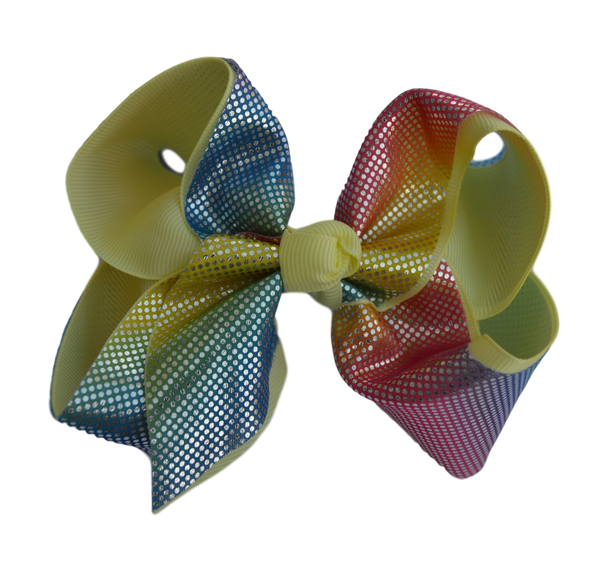 Soft Rainbow Layered Yellow Grosgrain Bow