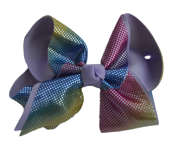 Soft  Rainbow Layered Lavender Grosgrain Bow