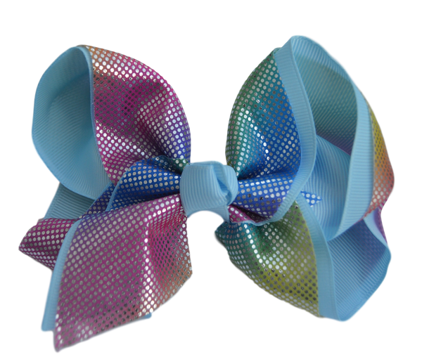 Soft Rainbow Layered Blue Grosgrain Bow