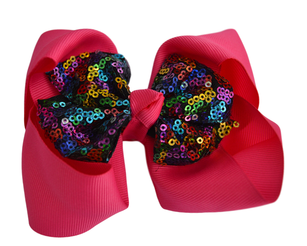 Shocking Pink with Multi Color Sequin Grosgrain Bow