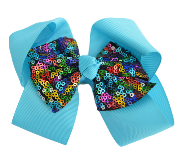 Turquoise with Multi Color Sequin Grosgrain Bow