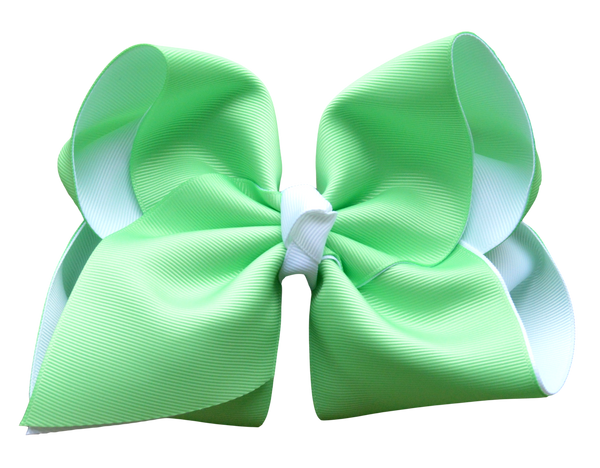 Mint and White Layered Bow
