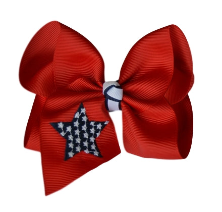 4th of July Embroidered Bow
