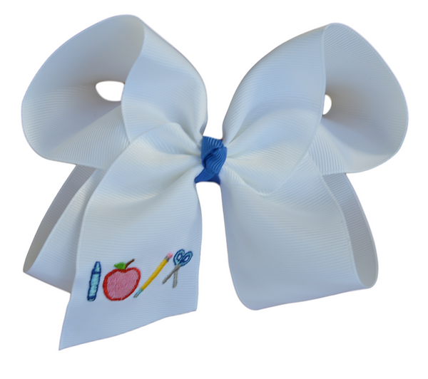 School Tools Embroidered Hair Bow