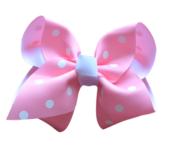 Pink and White Polka Dot Layered Bow