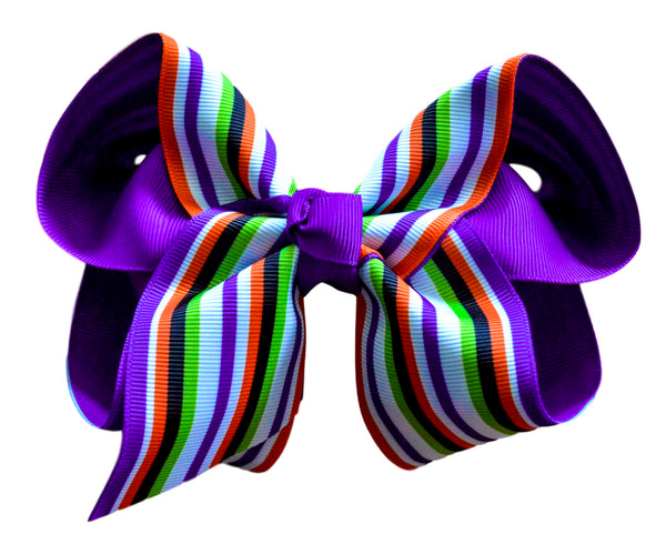 Orange and Purple Striped Layered Bow
