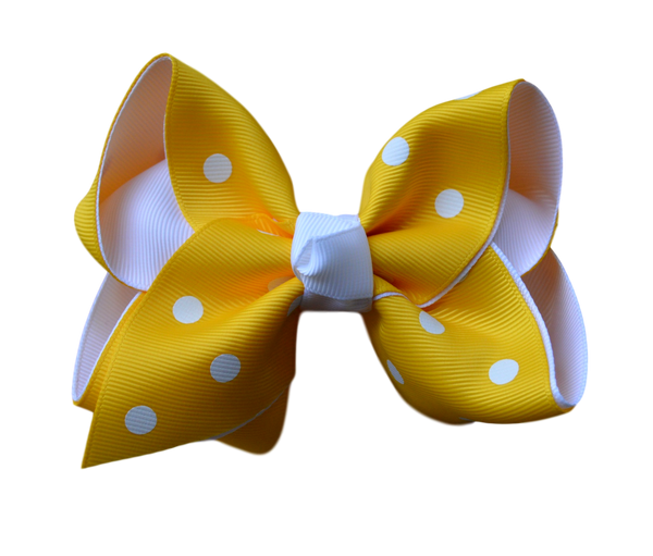 Yellow Polka Dot  Layered Bow