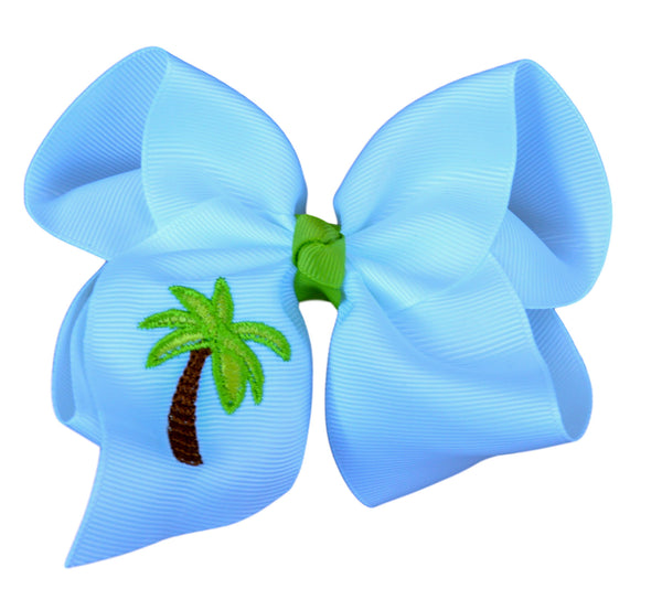 Palm Tree Embroidered Bow