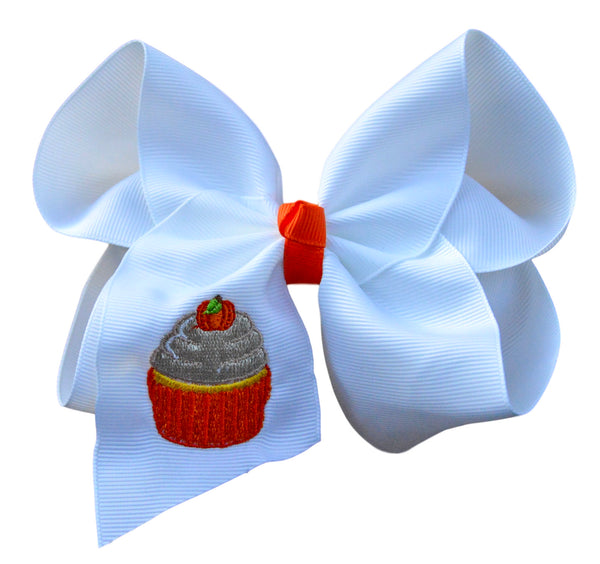 Pumpkin Cupcake Embroidered Bow
