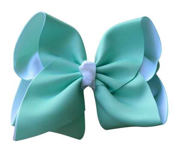 Aqua and White Layered Bow