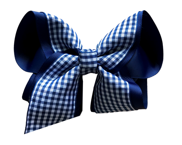 Navy Gingham Boutique Bow