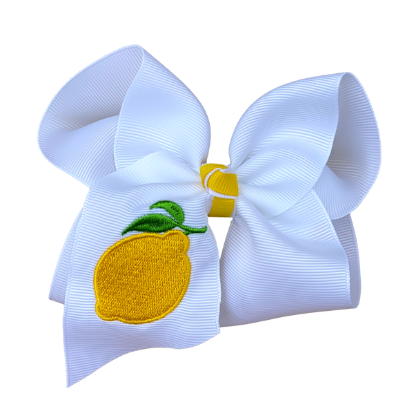 Lemon Embroidered Bow