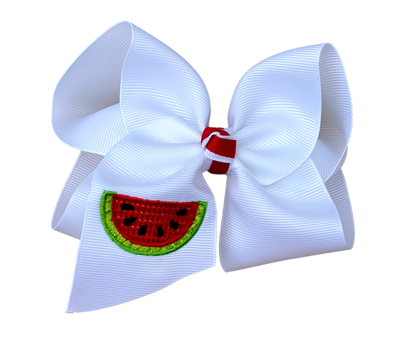 Watermelon Embroidered Bow