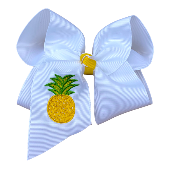 Pineapple Embroidered Bow