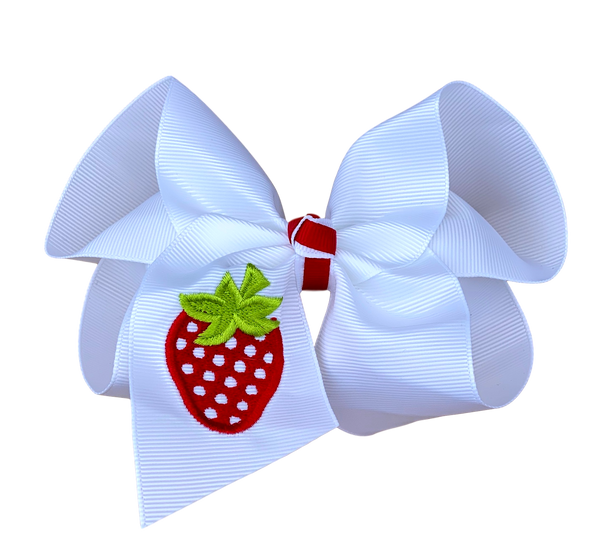 Strawberry Embroidered Bow