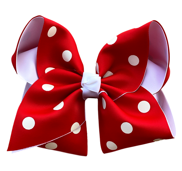 Red Polka Dot  Layered Bow