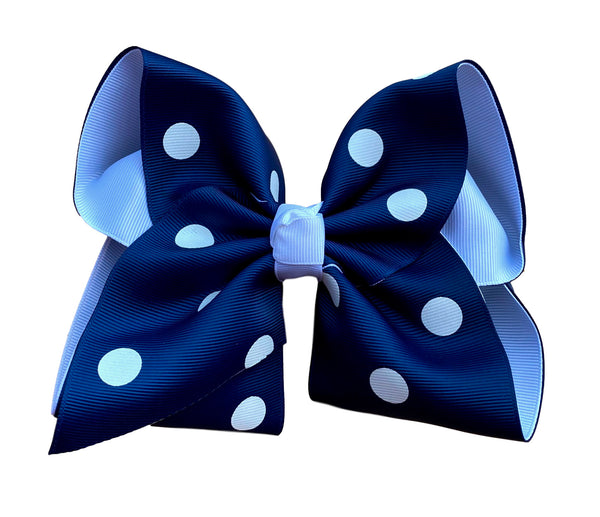 Navy Polka Dot  Layered Bow