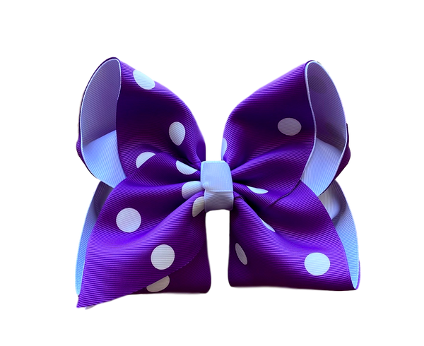 Purple Polka Dot Layered Bow