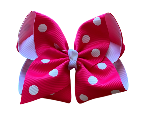 Shocking Pink Polka Dot Layered Bow