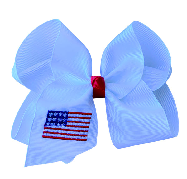 American Flag Embroidered Bow