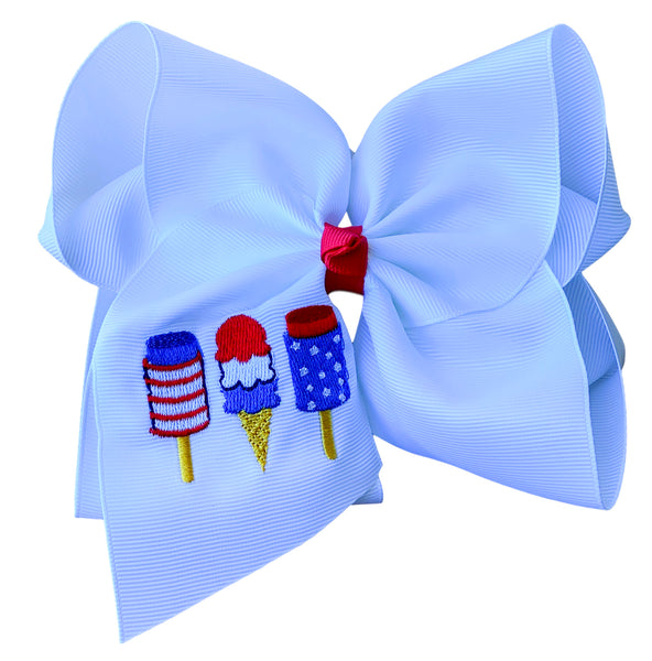 Patriotic Trio Embroidered Bow