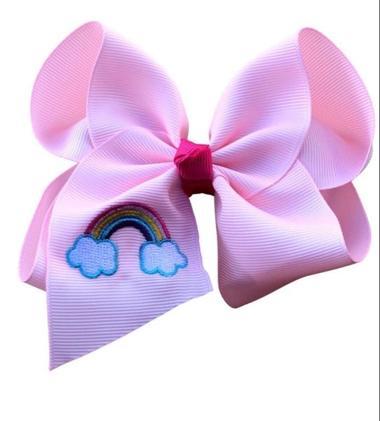 Rainbow Embroidered Bow