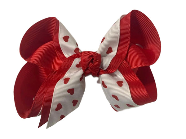 Red Hearts Layered Bow