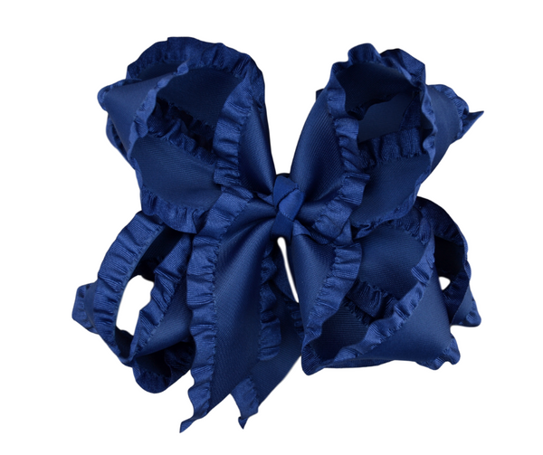 Navy Double Ruffle Boutique Bow