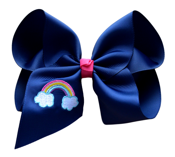Navy Rainbow Embroidered Bow