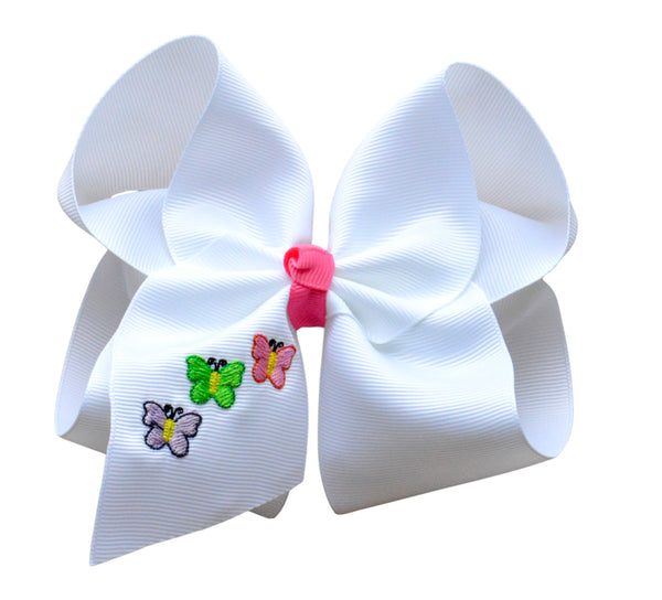 Butterfly Trio Embroidered Bow